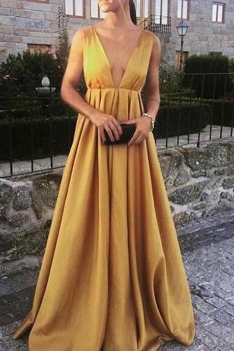 Gold Plunging V Neckline Satin Maxi Dress