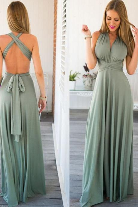 Maxi Dress Prom Dress with Convertible Straps