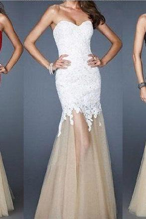 Strapless Mermaid Prom Dress with Lace Bodice