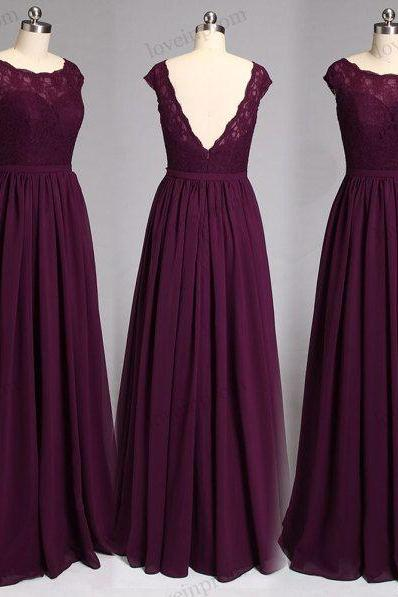 Long Chiffon Lace Bridesmaid Dress