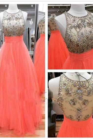 Coral Prom Dress with Beaded Bodice