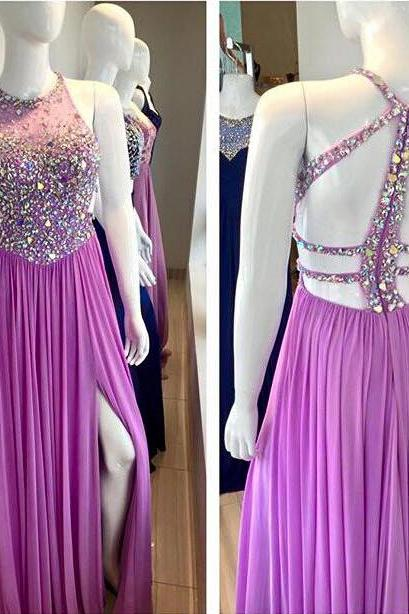 Lilac Prom Dress with Slit