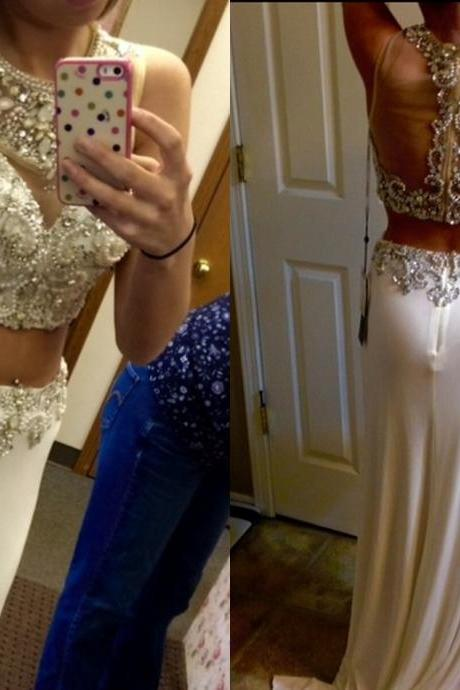 Gorgeous Beaded 2 Pieces Prom Dress
