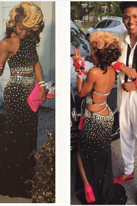 Black 2 Pieces Prom Dress with Silver Crystals