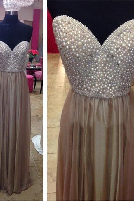 Long Chiffon Prom Dress with Pearls Beads