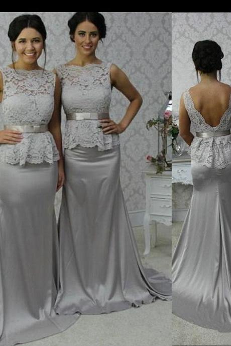 Gray Peplum Bridesmaid Dress with Open Back