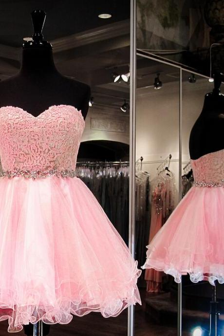 Short Pink Homecoming Dress Party Dress with Beaded Waist