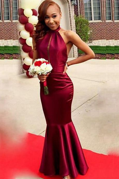 Backless Halter Mermaid Prom Dress with Keyhole Front