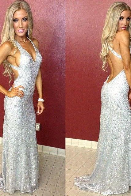 Silver Sequin Prom Dress with Open Back