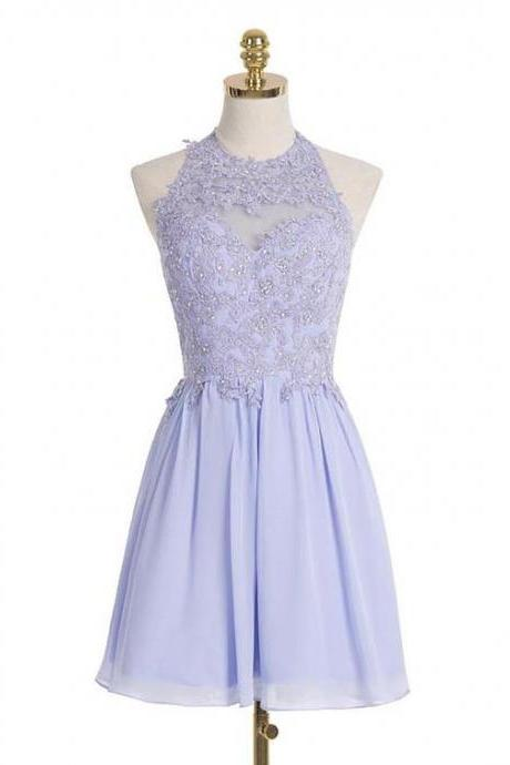 Short Light Lilac Dress with Beaded Lace