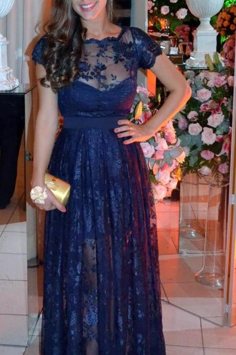 Navy Lace Formal Occasion Dress Evening Dress