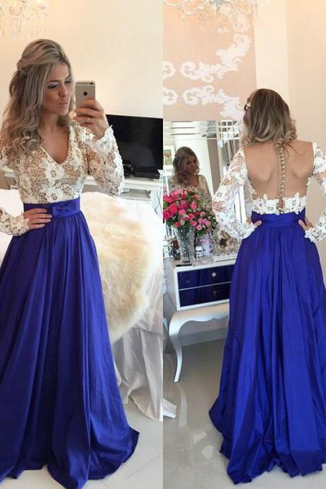 Long Sleeves Prom Dress with Lace Bodice