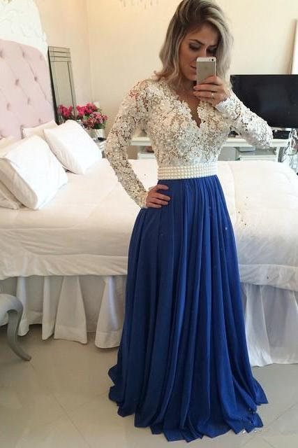 Chiffon and Lace Formal Occasion Dress Long Sleeves Evening Dress