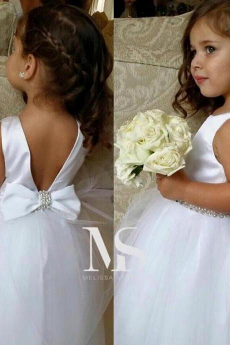 White V Back Flower Girl Dress