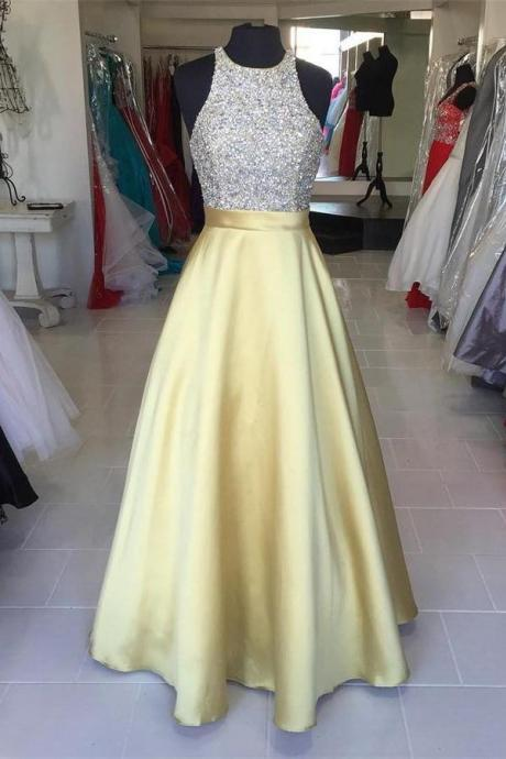Jewel Neckline Sleeveless Gold Prom Dress with Beads