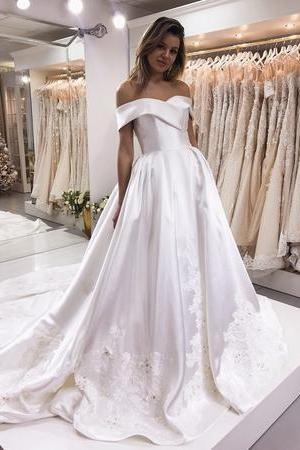 Off the Shoulder White Satin Wedding Dress with Lace
