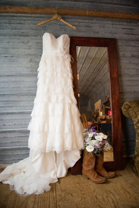 Rustic Tiered Lace Wedding Dress