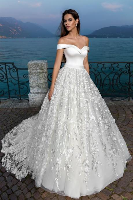 Off the Shoulder Princess Wedding Dress with Lace Overlay