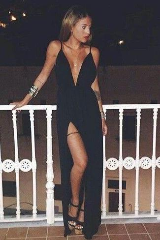 Black Plunge V Spaghetti Straps Floor Length A-Line Formal Dress Featuring Slit