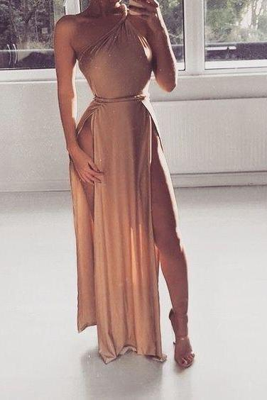 One Shoulder Maxi Dress with Slits
