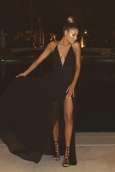 V Neck Black Chiffon Maxi Dress with Slit