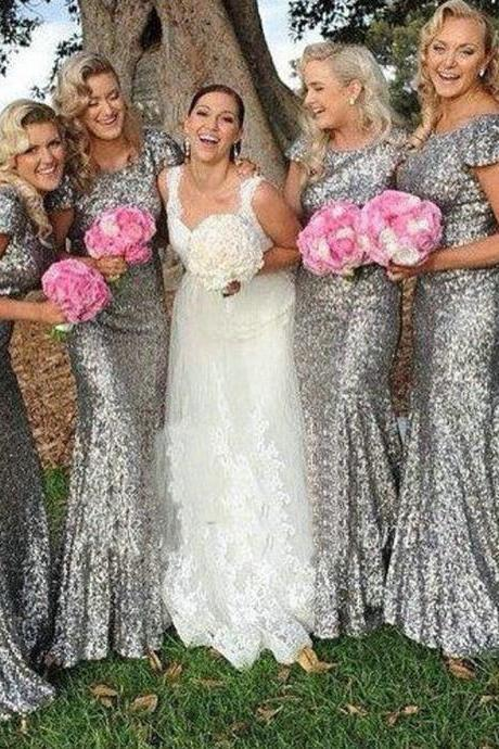Sparkly Silver Sequin Bridesmaid Dresses