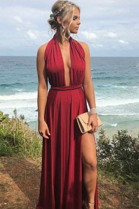 Halter Maxi Dress with Slit