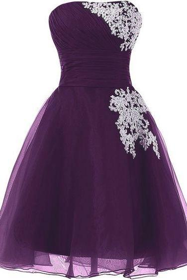 Strapless Purple Short Party Dress with Appliques