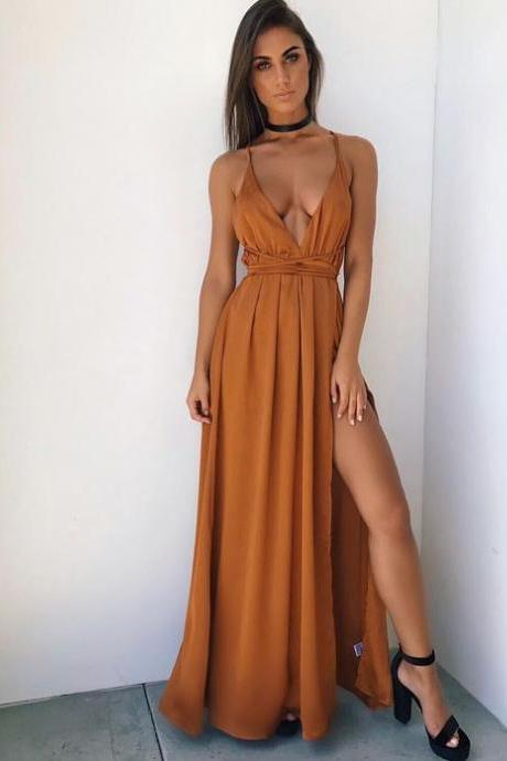 Gold Maxi Dress with Slit