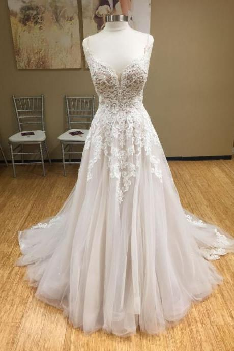 Spaghetti Strap Plunging V Lace Appliques A-line Wedding Dress Featuring Open Back and Train