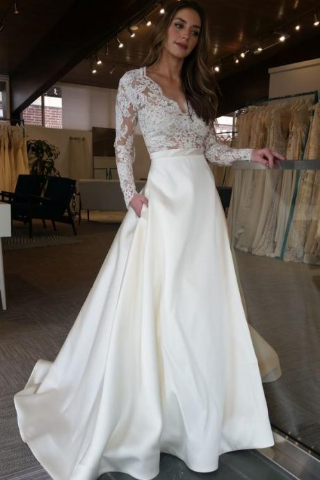 V-Neck Sheer Lace Satin A-line Wedding Dress with Long Sleeves