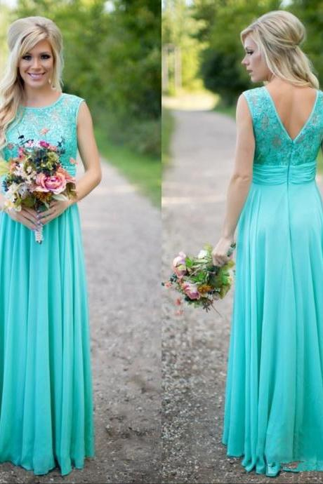 V Back Spring Summer Bridesmaid Dress