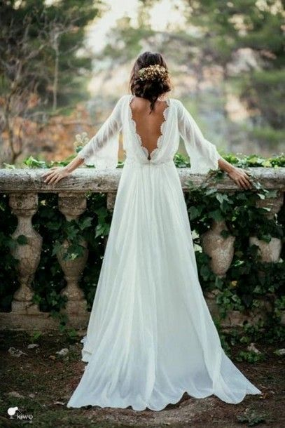 Flare Sleeves Boho Country Wedding Dress