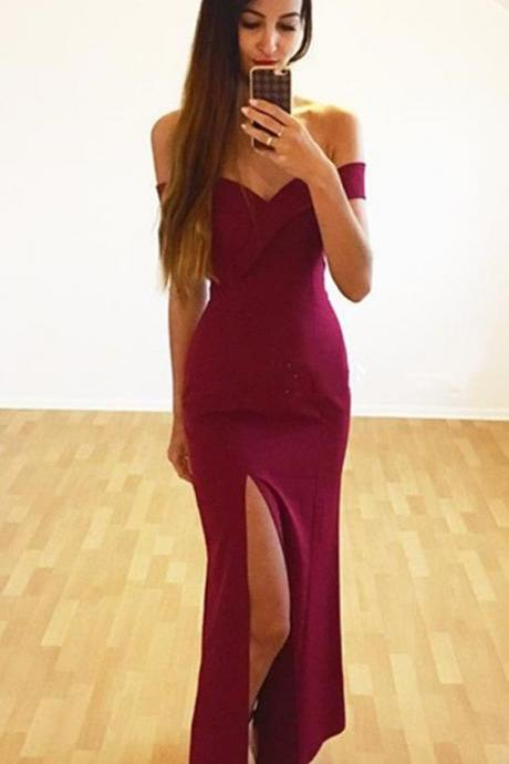Off the Shoulder Evening Dress with Slit