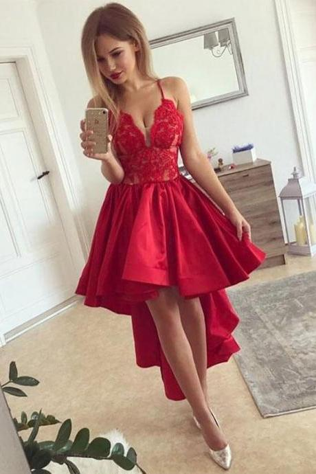 Spaghetti Straps High Low Homecoming Dress