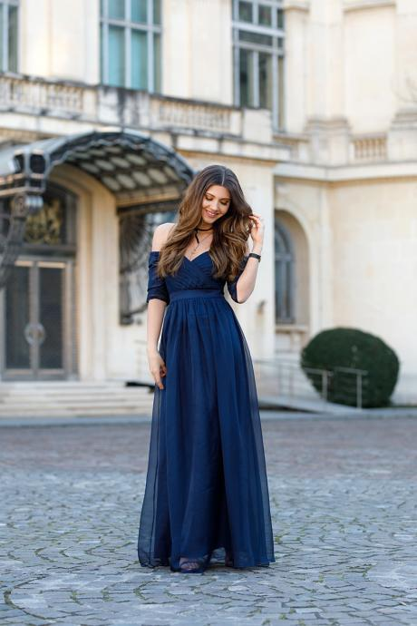 Half Sleeves Floor Length Navy Evening Dress