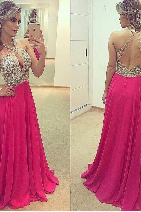 Halter Prom Dress with Keyhole Chest