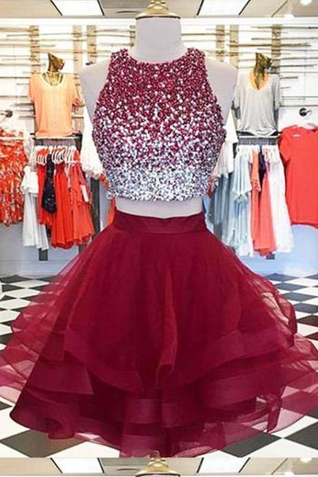 Short Two Pieces Prom Dress with Beaded Crop Top