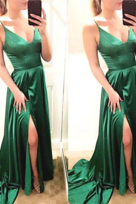 V Neck Green Prom Dress with Split