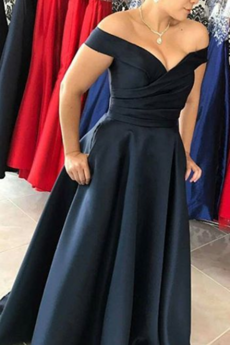 Off the Shoulder Dark Navy Evening Dress