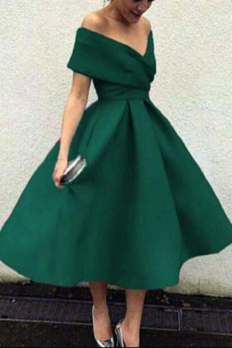 Tea Length Green Party Dress