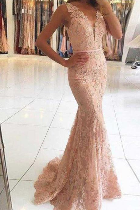 Sheer Plunging Neck Sheath Lace Prom Dress with Illusion Back