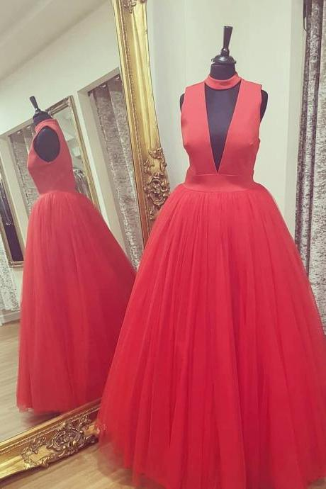 Keyhole Bodice Red Ball Gown Prom Dress