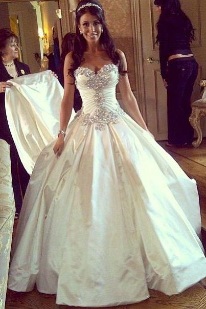 Sleeveless Satin Ball Gown Wedding Dress with Crystals