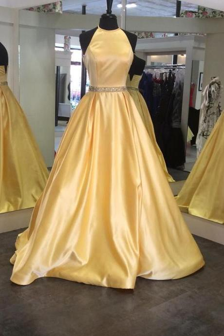 Yellow Halter Prom Dress Ball Gown