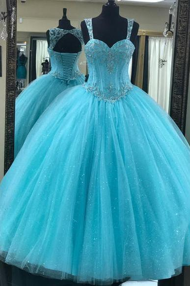 Sweetheart Floor Length Ball Gown Quinceanera Dress with Straps