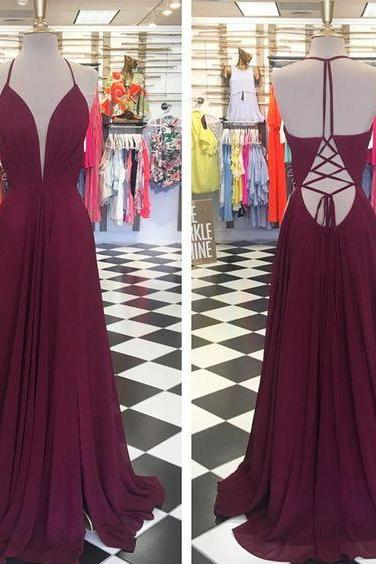 Plunging Neck Long Prom Dress with Tie String Back