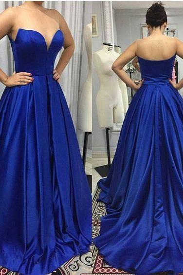 Sleeveless Royal Blue Prom Dress with Brush Train