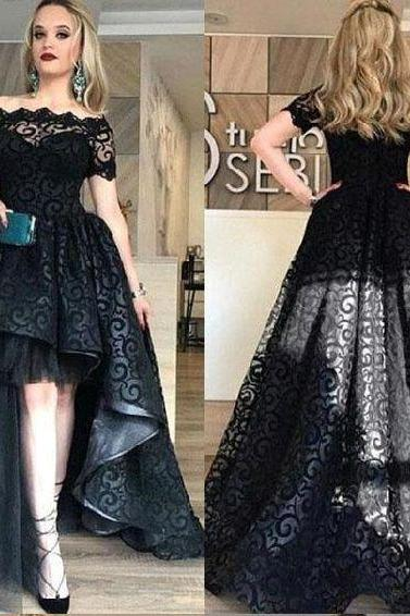Short Sleeves Black Lace High Low Dress