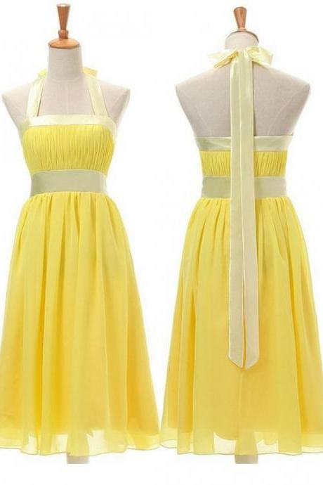 Halter Short Yellow Homecoming Dress